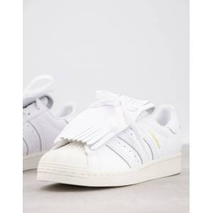 adidas Originals superstar trainers with fringing-White  - White - Size: 7