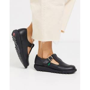 Kickers Kick T flat leather t-bar shoes in black  - 26136839151 - Size: 8