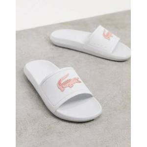 Lacoste Croco logo slides in white and pink  - White - Size: 8