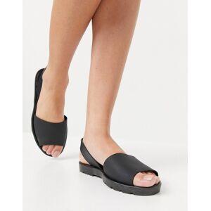 London Rebel slingback jelly flat sandals in black  - Black - Size: 7