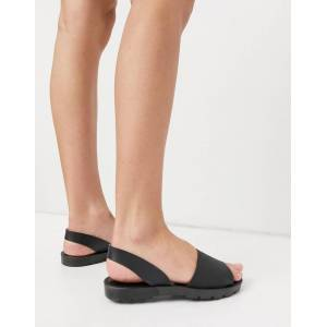 London Rebel slingback jelly flat sandals in black  - Black - Size: 3
