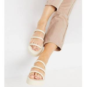London Rebel wide fit flatform nineties strappy mules in cream-White  - White - Size: 5