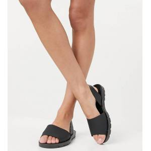London Rebel wide fit slingback jelly flat sandals in black  - Black - Size: 7