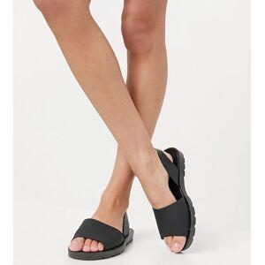 London Rebel wide fit slingback jelly flat sandals in black  - Black - Size: 3