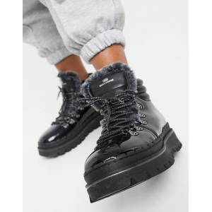 Skechers Jammers lace up flat ankle boots in black patent  - Black - Size: 8
