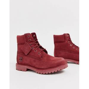 Timberland 6 Inch Premium dark red leather lace up flat boots  - Red - Size: 4