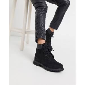 Timberland 6 inch premium lace up flat boots in black  - Black - Size: 5