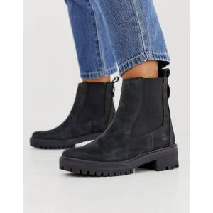 Timberland Courmayeur Valley black leather chelsea pull on ankle boots  - Black - Size: 9