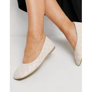 Truffle Collection quilted ballet flats with square toe in beige-Neutral  - Neutral - Size: 4