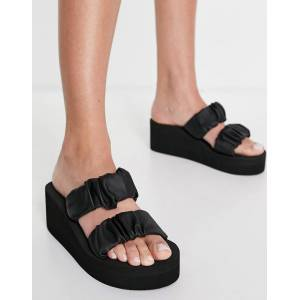 Truffle Collection scrunchie flatform mule sandals in black  - Black - Size: 8