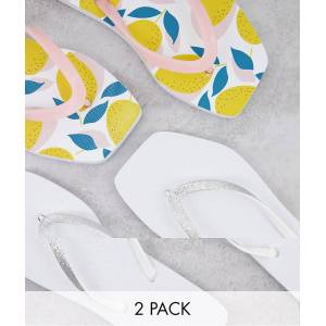 Truffle Collection wide fit square toe flip flop 2 pack in white and print-Multi  - Multi - Size: 5