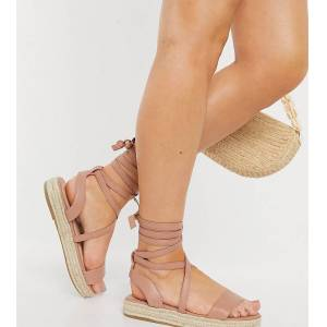 Truffle Collection wide fit tie leg espadrille sandals in beige-Neutral  - Neutral - Size: 7