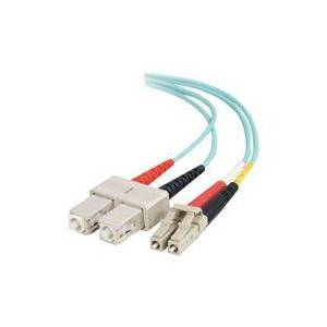 C2G 15m LC-SC 10Gb 50/125 OM3 Duplex Multimode PVC Fibre Optic Cable (LSZH) - Aqua