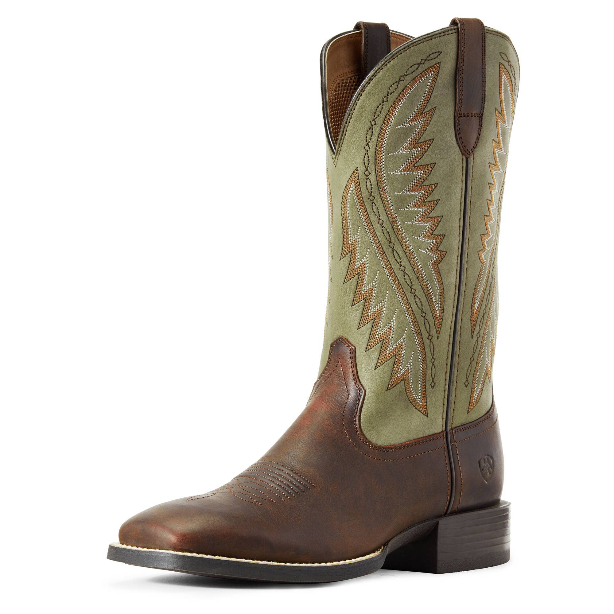 Ariat Men's Sport Stonewall Western Boots in Barley Brown/Olive Green Leather, D Medium Width, Size 12, by Ariat
