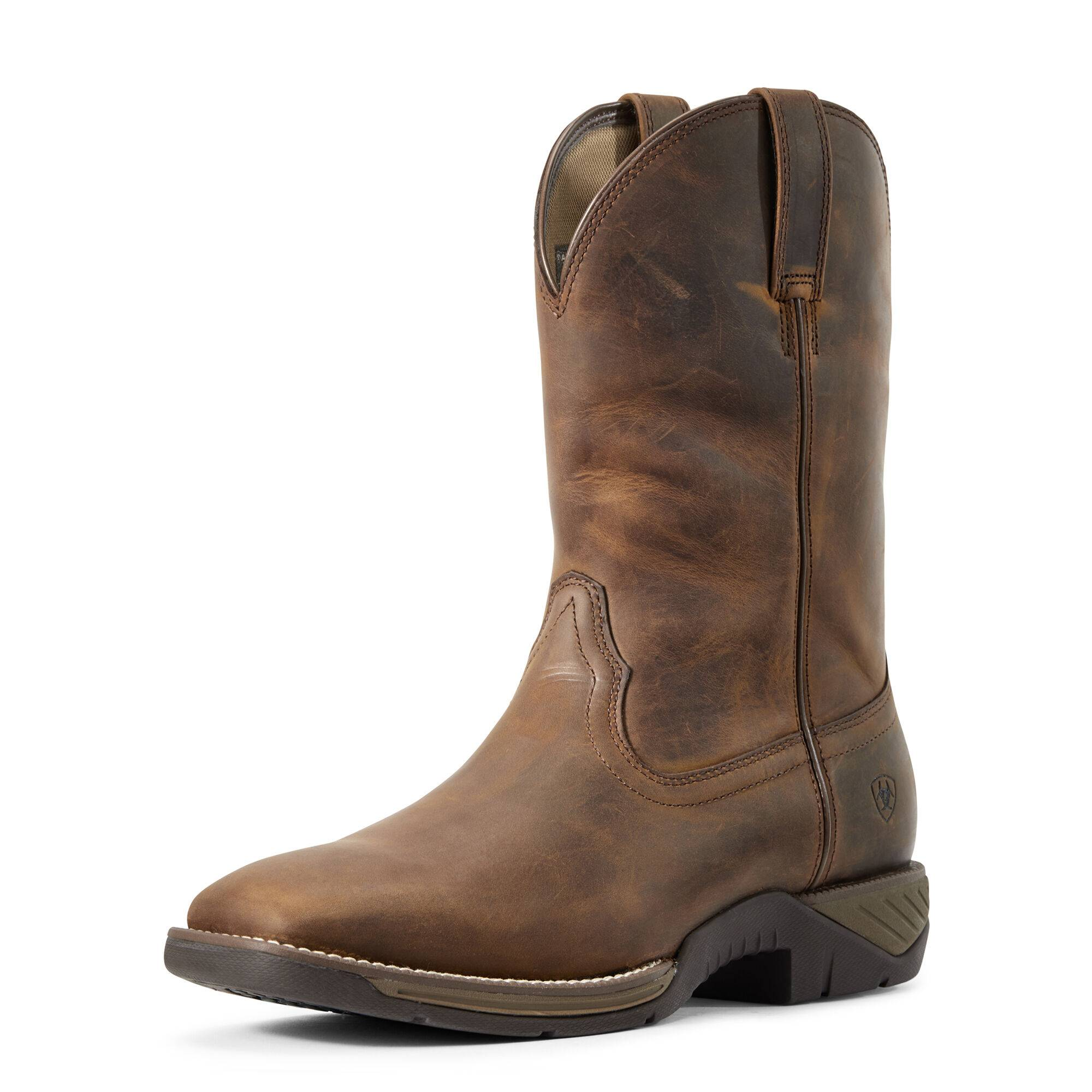 Ariat Men's Ranch Work Western Boots in Distressed Brown Leather, D Medium Width, Size 11, by Ariat