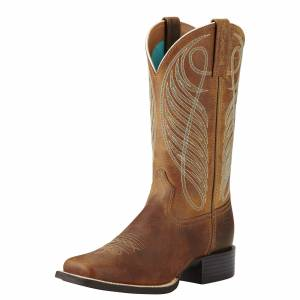 Ariat Women's Round Up Wide Square Toe Western Boots in Powder Brown Leather, B Medium Width, Size 3, by Ariat