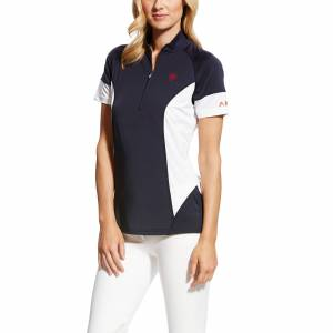Ariat Women's Cambria Jersey 1/4 Zip Baselayer Top in Navy, Size Large, by Ariat