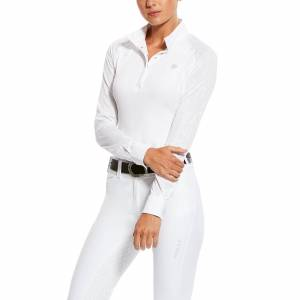 Ariat Women's Marquis Vent Show Shirt Long Sleeve in White Volte, Size Medium, by Ariat