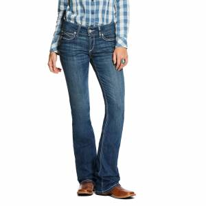 Ariat Women's R.E.A.L. Mid Rise Stretch August Boot Cut Jeans in Blue Topaz Cotton, Size 33 Long, by Ariat