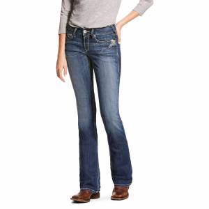 Ariat Women's R.E.A.L. Mid Rise Stretch Shimmer Boot Cut Jeans in Chill Blue Cotton, Size 25 Long, by Ariat