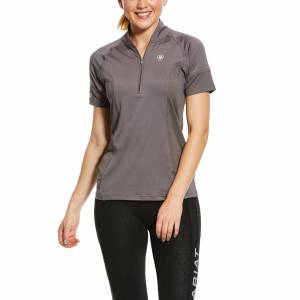 Ariat Women's Cambria Jersey 1/4 Zip Baselayer Top in Plum Grey, Size Large, by Ariat