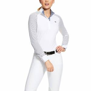 Ariat Women's Marquis Show Shirt Long Sleeve in White/Navy Mesh Stripe, Size Large, by Ariat