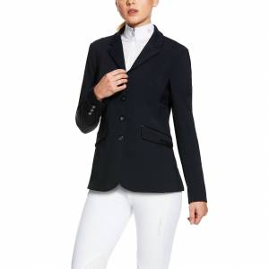 Ariat Women's Mercury ShowTEK Show Coat Long Sleeve in Show Navy Leather, Size 14, by Ariat