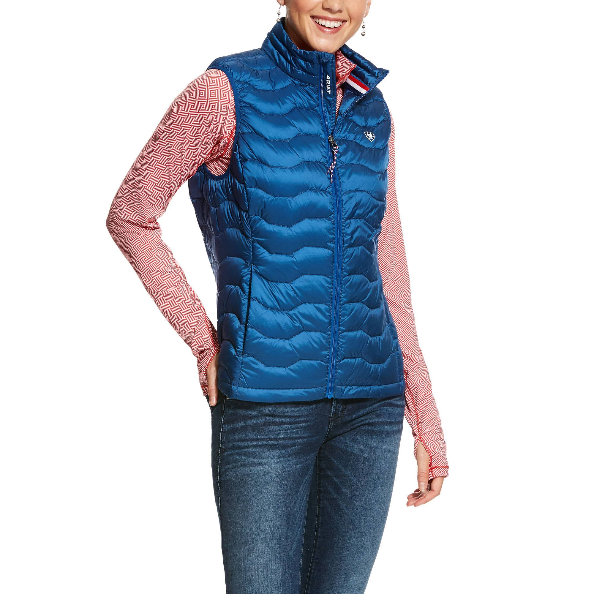 Ariat Women's Ideal 3.0 Down Vest in Vertical Blue, Size Medium, by Ariat