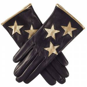 Black.co.uk Ladies' Gold Stars Italian Black Leather Gloves