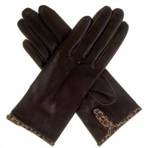 Black.co.uk Ladies' Black Leather Gloves with Leopard print Trim - Silk Lined
