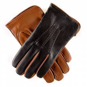 Black.co.uk Men's Black and Tobacco Italian Leather Gloves - Cashmere Lined