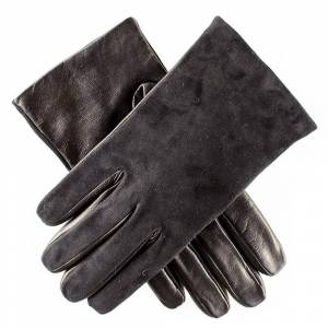 Black.co.uk Mens Black Suede and Leather Gloves - Cashmere Lined