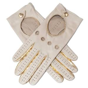 Black.co.uk Accessories Supersoft Cream and Gold Nappa Leather Driving Gloves