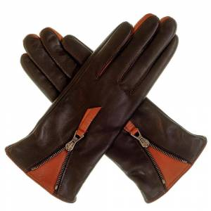 Black.co.uk Ladies' Black and Tan Leather Gloves with Zip Detail - Cashmere Lined