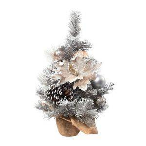 TJC Table Christmas Tree with Snow Flocking, Baubles, Pine Cone (Size 40cm) - Silver and Golden