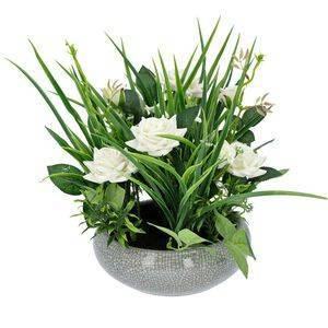 TJC Mini Flannelette Roses in Ceramic Vase - White