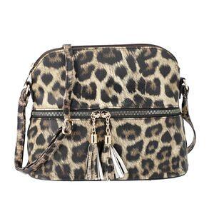 TJC Designer Inspired - Leopard Print Crossbody Bag with Tassel Zipper (Size 26x10x23cm) - Brown