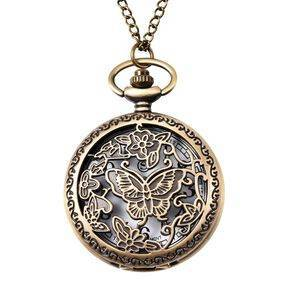 TJC STRADA Japanese Movement Butterfly Pattern Pocket Watch with Chain (Size 31) in Antique Bronze Plated