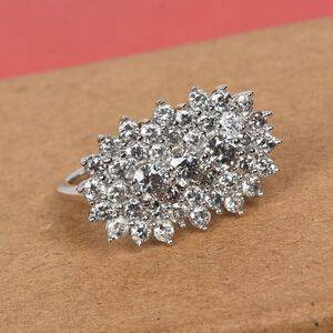 TJC 9K White Gold SGL Certified Natural Diamond (I3/G-H) Cluster Ring 2.00 Ct.