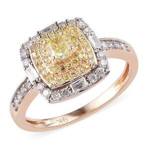 TJC 9K Yellow Gold Natural Yellow Diamond and White Diamond Ring 0.75 Ct.