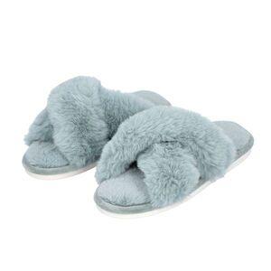 TJC Super Soft Cross Band Faux Fur Slippers - Blue