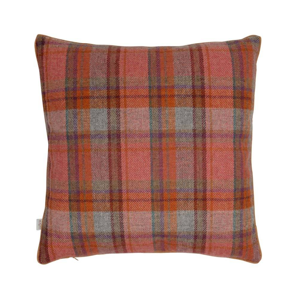 """Magee 1866 18"""" Orange, Green & Lilac Overcheck Donegal Tweed Cushion"""