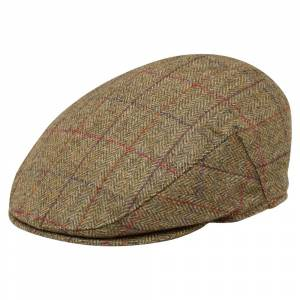 Magee 1866 Oat Check Donegal Tweed Flat Cap  - Beige - Size: 2X-Large