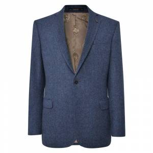 Magee 1866 Navy Handwoven Herringbone Donegal Tweed Classic Fit Jacket  - Blue - Size: 48R