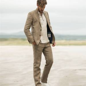 Magee 1866 Olive Irish Linen Glen Check 3-Piece Tailored Fit Suit  - Brown - Size: 44/38S