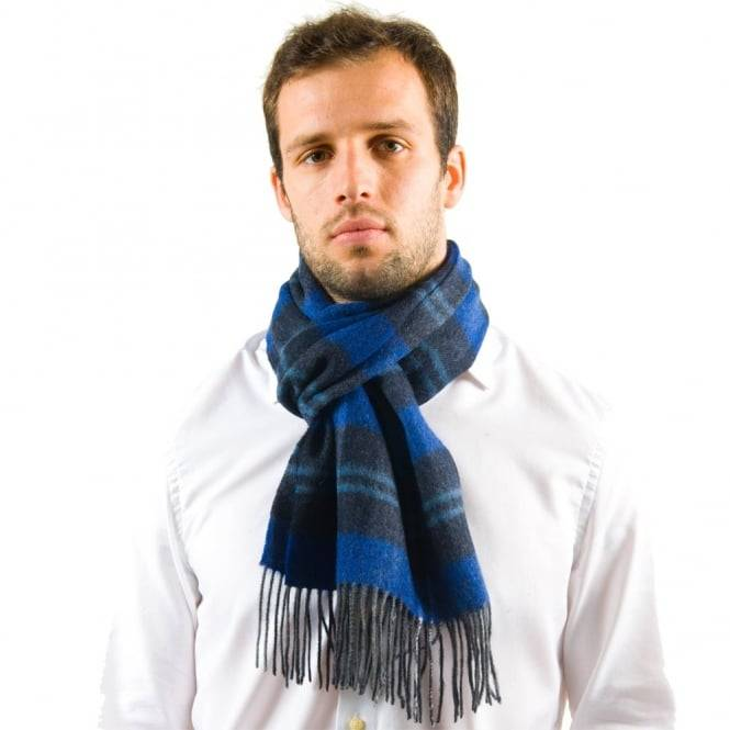 Blue Check Patterned 100% Wool Scarf