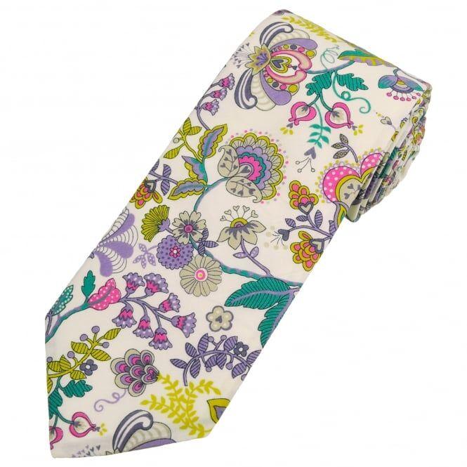Platinum Liberty Van Buck Platinum White, Purple, Pink & Yellow Flower Patterned Designer Tie