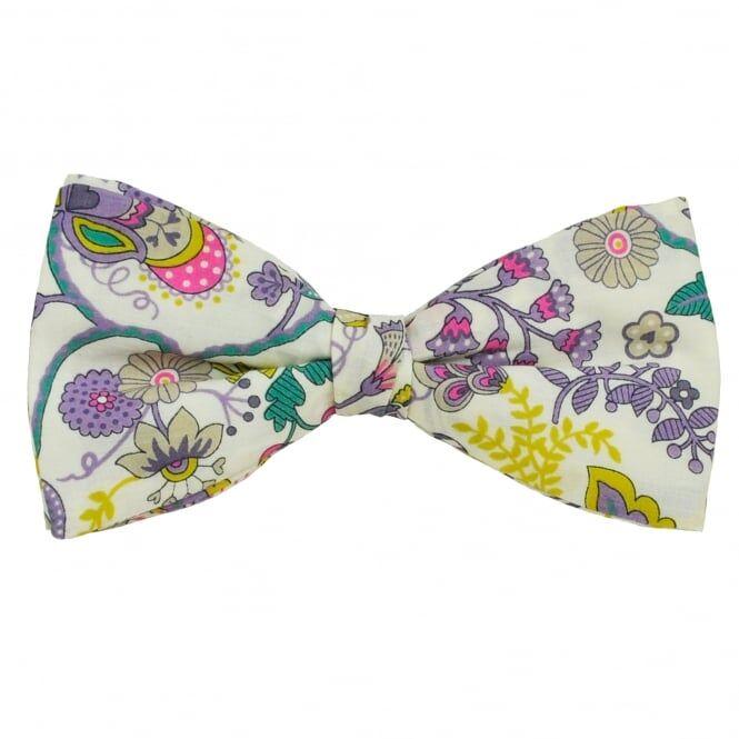 Liberty Van Buck White, Purple, Pink & Yellow Flower Patterned Designer Bow Tie