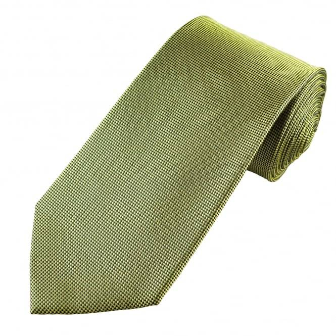 Lime Green & Black Micro Woven Checked Men's Silk Tie