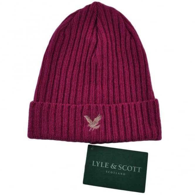 Scott Lyle and Scott Lipstick Pink Ribbed Beanie Hat